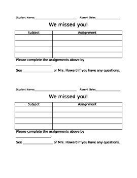 Absent Work Form *Editable*