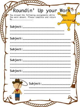 Absent Work Form (Western Themed)