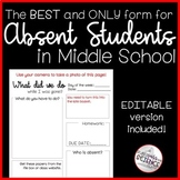 Absent Work Form for Middle School - Editable