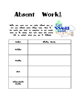 Absent Work Note for Sick Kids