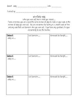 Absent Work Sheet