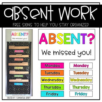 Absent Work Sign & Labels FREEBIE