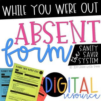 Absent Work Template and System - Editable / Digital