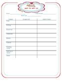 Absent work recording sheet
