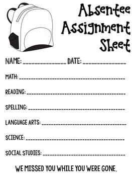 Absentee Assignment Sheet