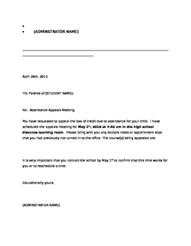 Absenteeism and Truancy Letter Packet