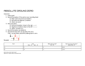 Absolute Ground Zero (Absolute Value Game) w/ Recording Sheets