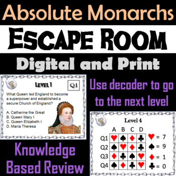 Absolute Monarchs: Escape Room - Social Studies (Age of Absolutism)