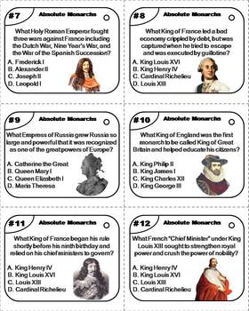 Absolute Monarchs Task Cards