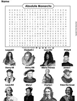 Absolute Monarchs Word Search (Age of Absolutism)