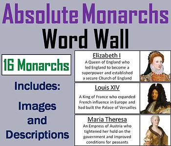 Absolute Monarchs Word Wall Cards