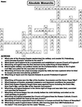 Absolute Monarchs Worksheet/ Crossword Puzzle (Age of Absolutism)