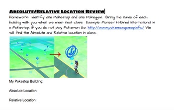 Absolute/Relative Location Review- POKEMON GO!/ Google Map