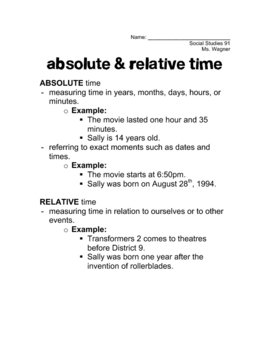 Absolute & Relative Time Handout & Quiz