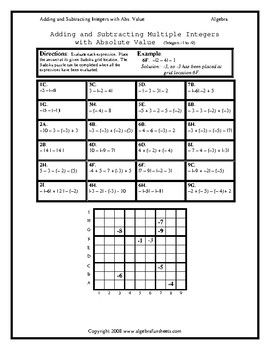 Absolute Value:  Adding and Subtracting Integers with Absolute Value Sudoku