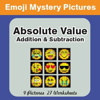 Absolute Value (Addition & Subtraction) Color-By-Number EMOJI Mystery Pictures