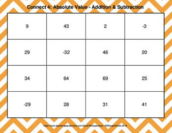 Absolute Value: Addition & Subtraction - Connect 4 Game
