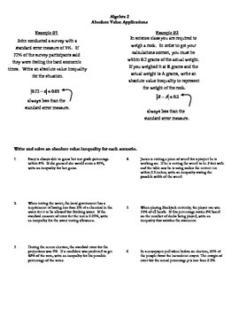 Absolute Value ApplicationsWorksheet