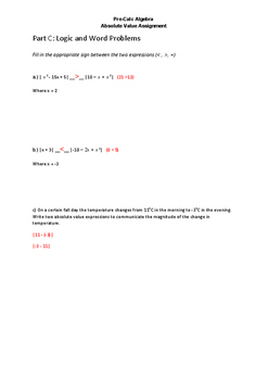 Absolute Value Assignment and Answer Key