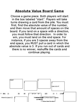 Absolute Value Board Game