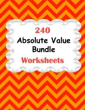 Absolute Value Worksheets Bundle