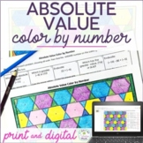 Distance Learning Absolute Value Color by Number, Paper &