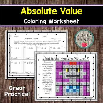 Absolute Value Coloring Worksheet