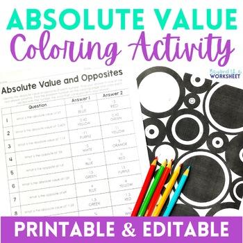 Absolute Value Coloring Worksheet - Editable