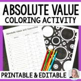 Absolute Value and Opposites Coloring Worksheet
