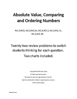 Absolute Value, Comparing and Ordering Numbers - 22 Problems