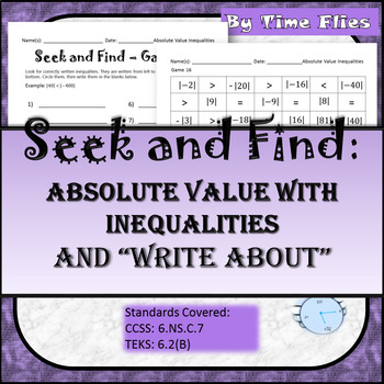 Absolute Value Comparisons using Inequalities Activity