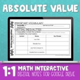 Absolute Value Digital Interactive Math Notebook