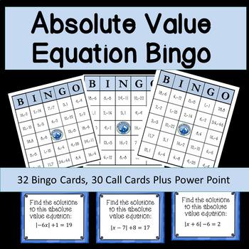 Absolute Value Equation Bingo