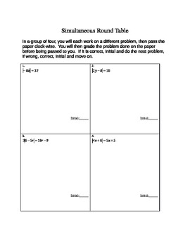 Absolute Value Equation Simultaneous Round Table Activity