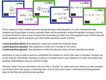 Absolute Value Equations Bucket Ball