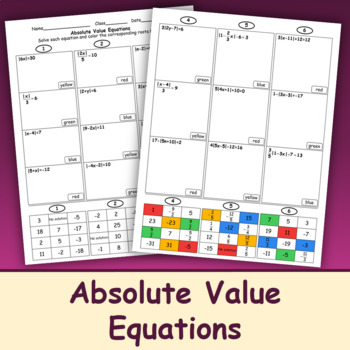 Absolute Value Equations (Color Mosaic)