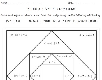 Absolute Value Equations Coloring Design