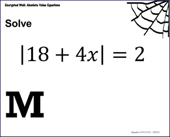 Absolute Value Equations Encrypted Wall -- SAMPLE