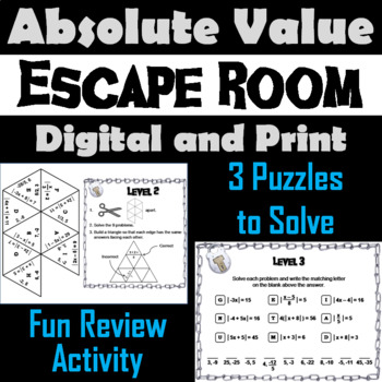 Solving Absolute Value Equations: Algebra Escape Room Math Activity