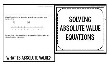 Absolute Value Equations Flipbook
