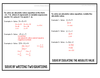 Absolute Value Equations Flipbook