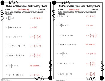 Absolute Value Equations Fluency Check:  No Prep Fluent in Math Series