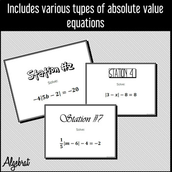 Absolute Value Equations - Guided Notes, Warm Up, Stations Practice and Homework