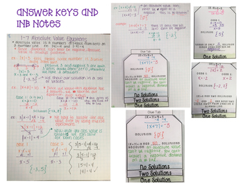 Absolute Value Equations INB page and Flip Book