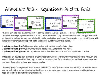 Absolute Value Equations & Inequalities Activity Bundle