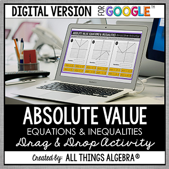 Absolute Value Equations & Inequalities Drag & Drop (for Google Slides™)