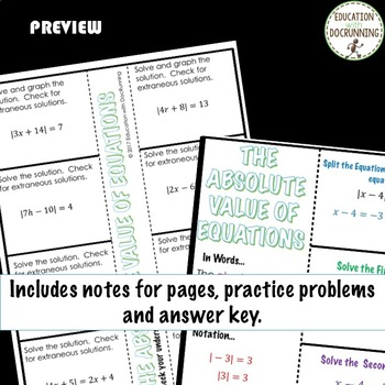 Absolute Value Equations Color Interactive Notebook for Algebra 2