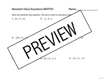 Absolute Value Equations MATHO