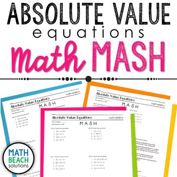Absolute Value Equations Math MASH Activity