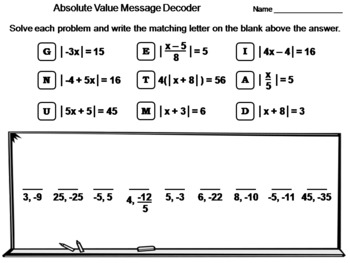 Absolute Value Equations: Math Message Decoder